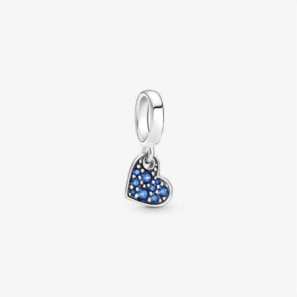 GIOIELLERIA-PRINCESS-Charm-pendente-Cuore-obliquo-con-pave-blu