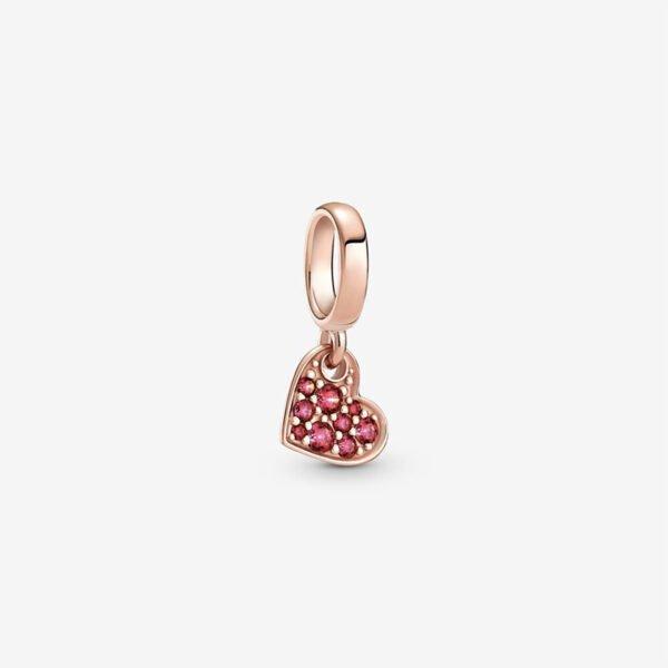 GIOIELLERIA-PRINCESS-Charm-pendente-Cuore-obliquo-con-pave-rosso