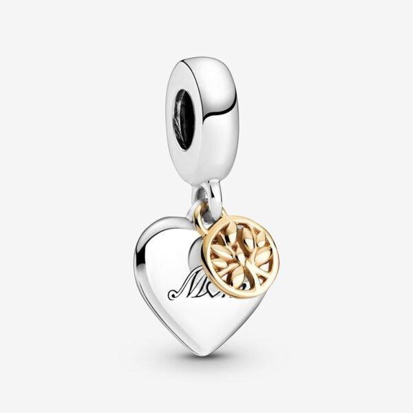 GIOIELLERIA-PRINCESS-Charm-pendente-bicolore-Albero-della-famiglia-e-cuore