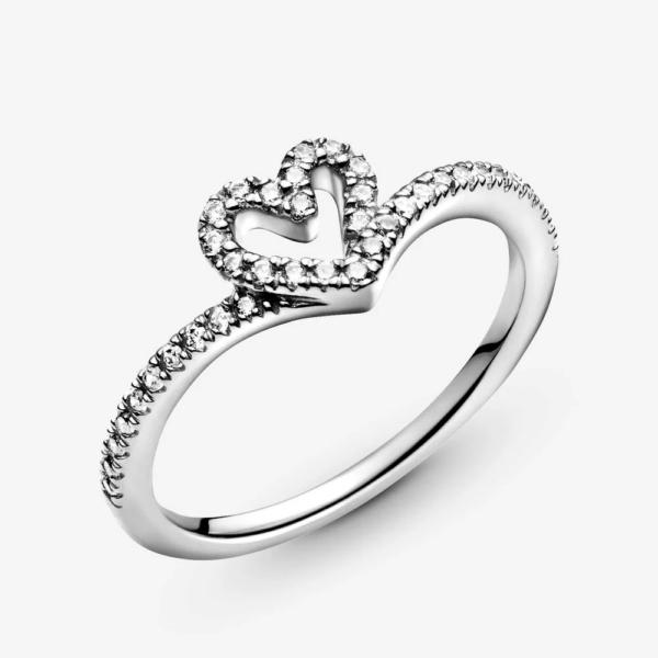 PANDORA - ANELLO DONNA Sparkling Wishbone Heart Ring 3