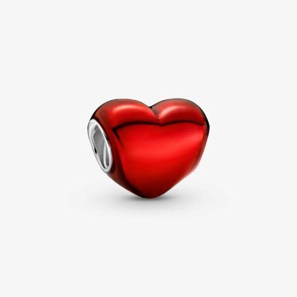 PANDORA - Charm Cuore rosso metallico