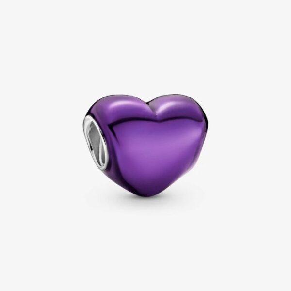 PANDORA - Charm Cuore viola metallico