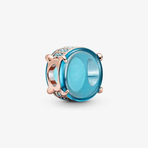 PANDORA - Charm con pietra cabochon ovale blu