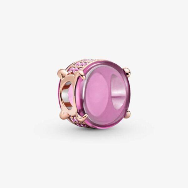 PANDORA - Charm con pietra cabochon ovale rosa
