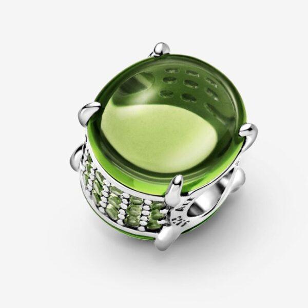 PANDORA - Charm con pietra cabochon ovale verde
