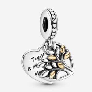 PANDORA - Charm pendente Albero della famiglia a cuore bicolore