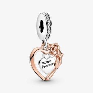 PANDORA - Charm pendente Cuore e rosa