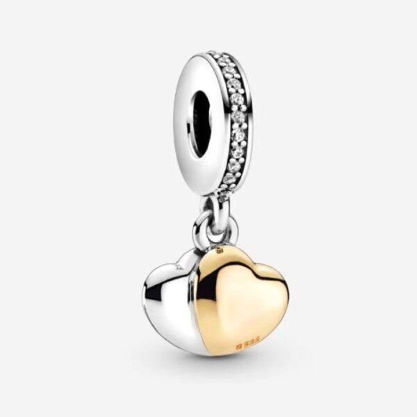 PANDORA - Charm pendente Doppio cuore bicolore