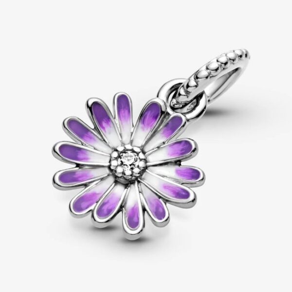 PANDORA - Charm pendente Margherita viola