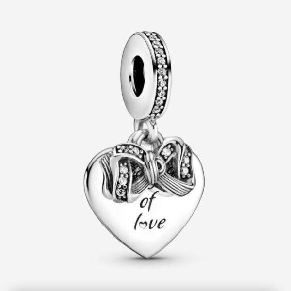PANDORA - Charm pendente a cuore Fiocco e amore