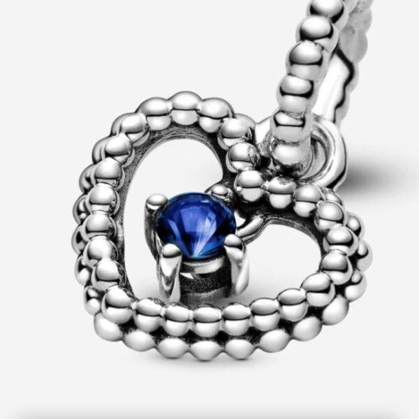 PANDORA - Charm pendente a cuore blu mare decorato con sfere Purely Pandora