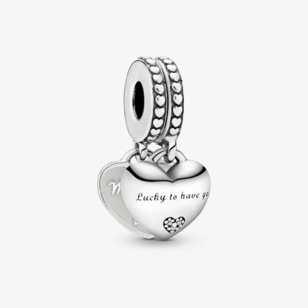PANDORA - Charm pendente con doppio cuore Nuora e suocera