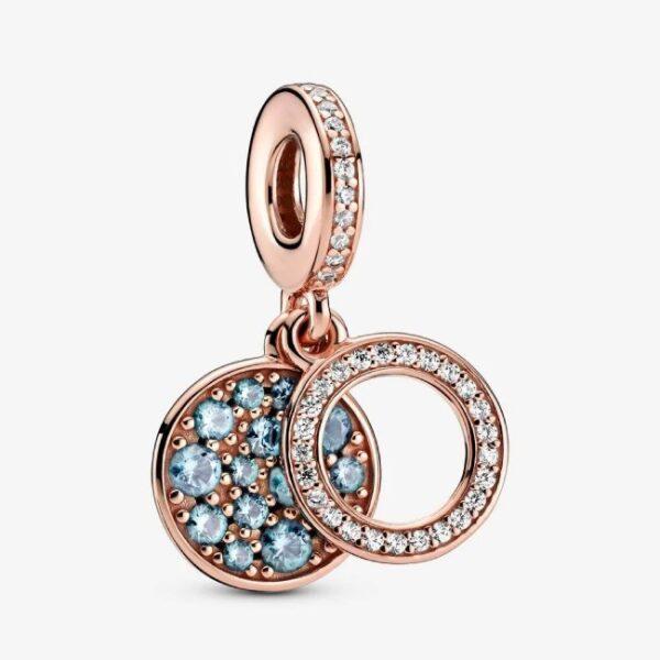 PANDORA - Charm pendente con doppio disco azzurro scintillante