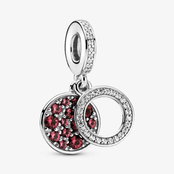 PANDORA - Charm pendente con doppio disco rosso scintillante