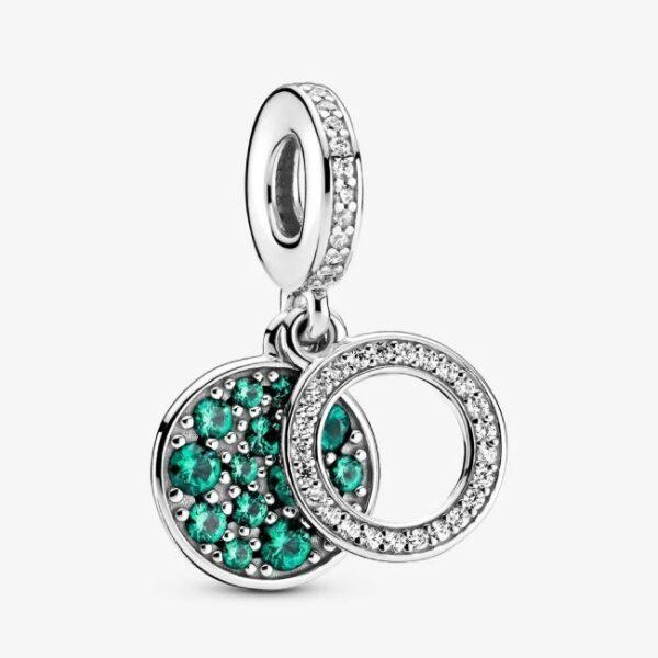 PANDORA - Charm pendente con doppio disco verde scintillante