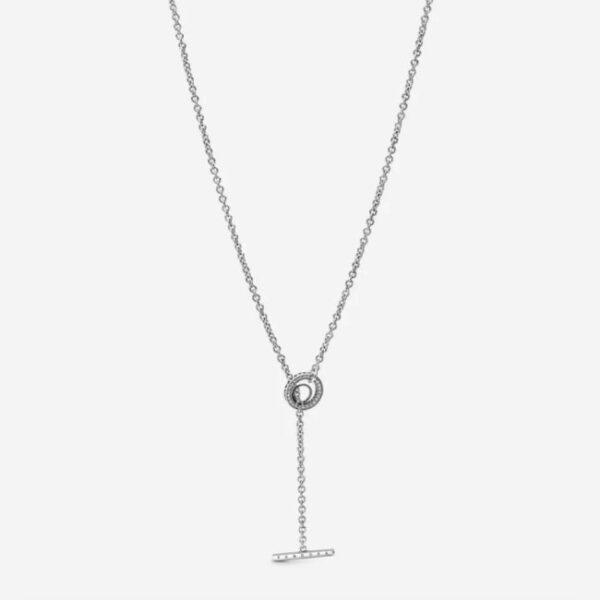 PANDORA - Collana con cuore barretta a T logo e cerchio con pavé