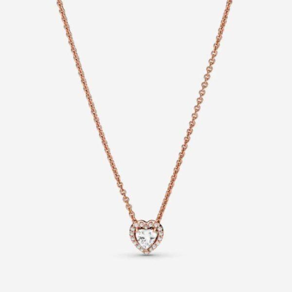 PANDORA - Collana con cuore in rilievo scintillante