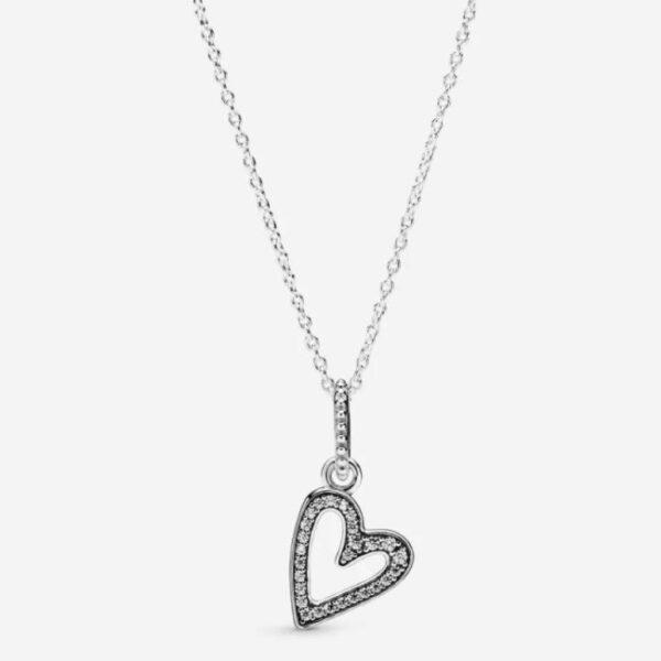 PANDORA - Collana con pendente cuore scintillante