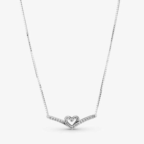 PANDORA - Collier chevron con cuore scintillante