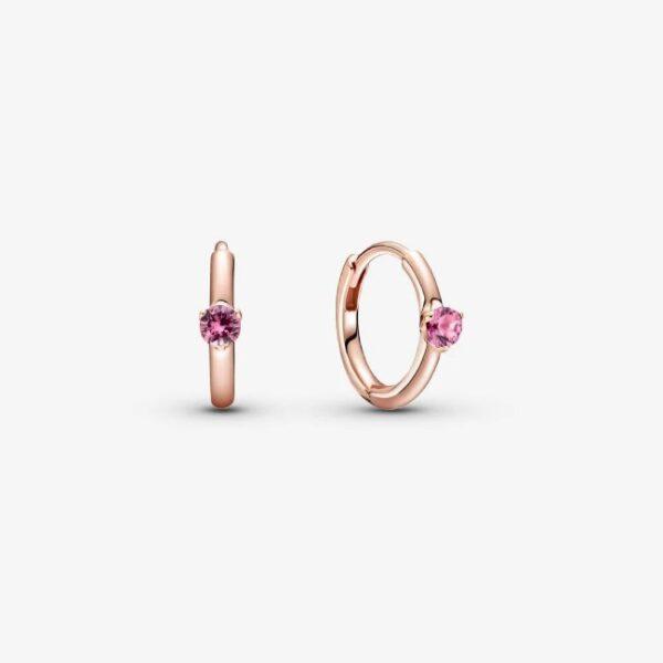 PANDORA - Orecchini a cerchio con solitario rosa