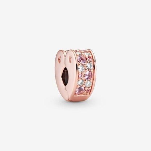 Pandora - Clip a cuore con pavé rosa 1